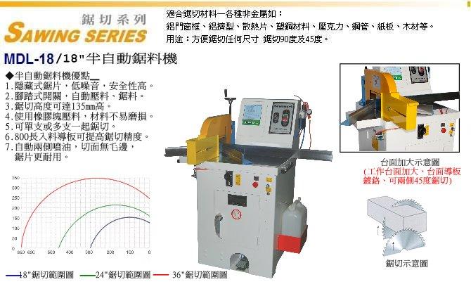 MDL-18 油壓半自動鋸料機